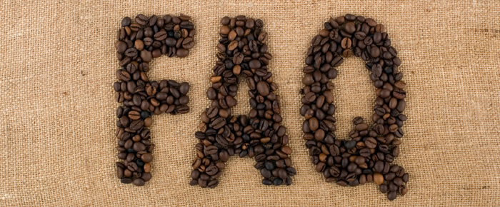 frequently asked questions spelled out with coffee beans