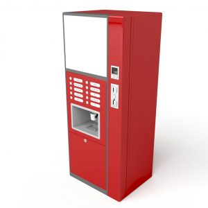 Coffee vending machine on white background, 3d image